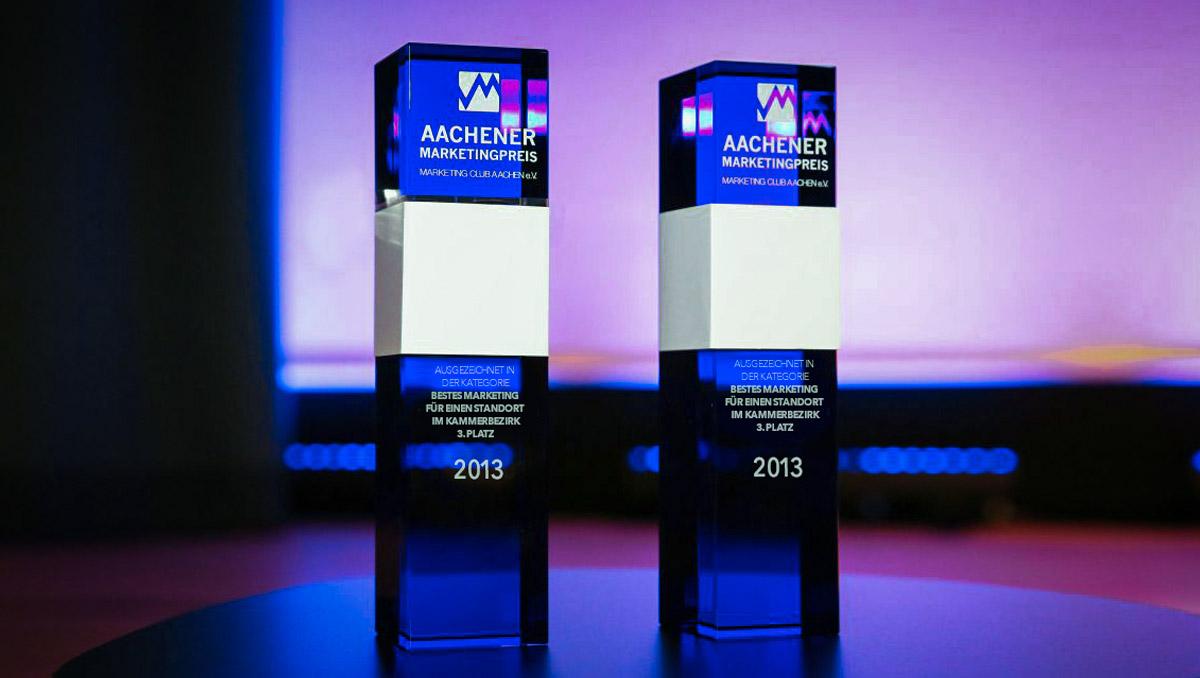 """3. Platz in der Kategorie: """"Bestes Marketing für einen Standort"""" beim Aachener Marketingpreis 2013 des Marketing Club Aachen e.V."""